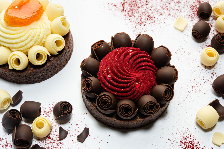 Chocolate raspberry tartlet