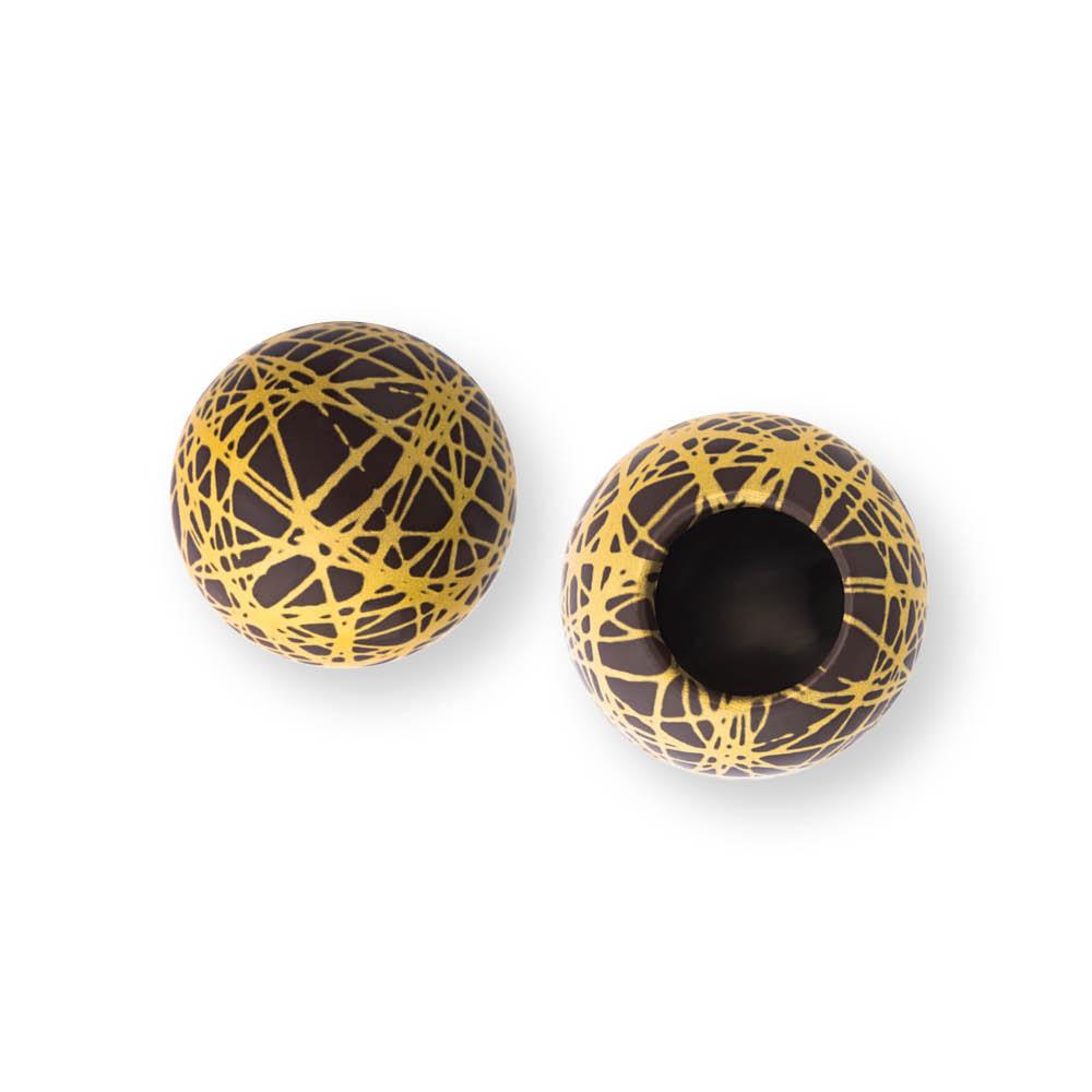 Grid Shell Gold Dark - Chocolate Decorations - Dessert Shell - 20 pcs